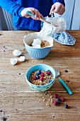 Crunchy almond muesli with egg whites