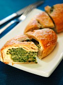 Pasqualina, italian typical Easter savoury cake with eggs and spinach, Italy