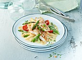 Asparagus ragout with caramel sauce and Lake Victoria perch