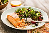 Salmon with salad on plate