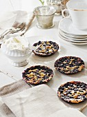 Blueberry tarts with caramel