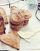 Heart shaped crispbreads for Easter
