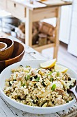 Cauliflower couscous with chicken, grilled zucchini and mint