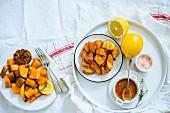 Gebratene Süsskartoffeln mit Zitronensauce