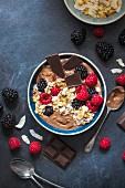 Chocolate yogurt with coconut chips and berries
