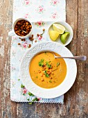 Chickpea and lentil soup with lime