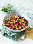 Bulgur wheat with beetroot, peppers and mint