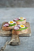 Bruschetta with avocado, radish and quail's eggs
