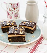 Cappuccino brownies with chopped nuts