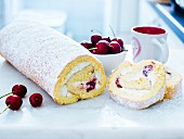 Sponge roll with cherries and quark