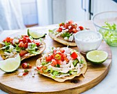 Tostadas with chicken and pico de gallo (Mexico)