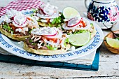 Sopes (cornmeal flatbreads, Mexico) with meat, beans and lettuce