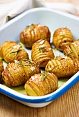 Hasselback potatoes with salt and rosemary