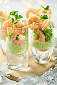 Shrimp and avocado cocktails in shot glasses (Christmas)