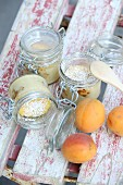 Apricot and quark pancakes baked in glass jars