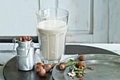 Glass of homemade hazelnut milk and hazelnuts