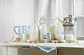 Veganer Milchersatz, (Sojadrink, Mandeldrink, Haselnussdrink, Reisdrink, Haferdrink) auf rustikalem Kuechentisch