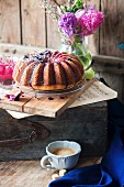 A pound cake with berries