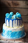 A blue buttercream cake for a little boy's birthday