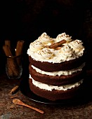 Cinnamon Chocolate Layer Cake with salted honey buttercream frosting