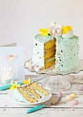 White chocolate cake with chocolate, easter eggs and daffodil flowers