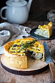 Shortcrust pastry cabbage and mushrooms pie