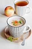 Vegetarian soup with coconut milk, apple and dates