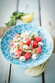 Fennel salad with watermelon and mini mozzarella