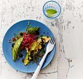 Plate of Iceberg Salad with avocado, thyme, sesame and sprouts