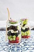 Greek salad in glasses