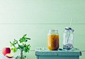 Apple and seabuckthorn spritzer with sparkling water and mint