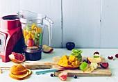 Obst und Früchte zum Mixen vorbereiten