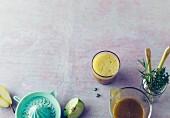 Herb lemonade with lemongrass, apple and pear