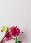 Watermelon slush with lime and basil
