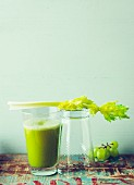 Green celery and grape juice