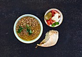 Lentil soup with flat bread (Lebanon)