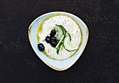Labneh with olives and cucumbers (fresh cheese, Lebanon)