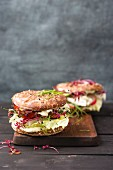 Veggie Burger with salad, radish, tomato, rock chive