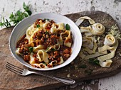 Sweet lupin pasta with vegan lentil bolognese