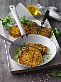 Vegan mung bean and courgette frittatas with hemp seeds