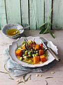 Hokkaido pumpkin and spelt salad with edamame