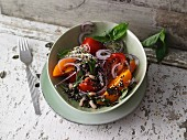 Colourful quinoa and black-eyed pea salad with tomatoes