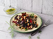 Colourful bean salad with red chard