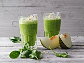 Green protein smoothies with hemp and shoots