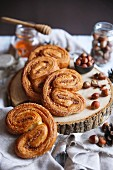 Palmiers with hazelnuts and honey