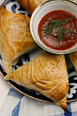 Pasties with a tomato dip