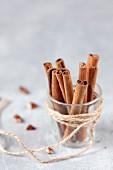 A jar of cinnamon sticks