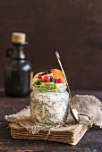 Healthy chia pudding in the jar, selective focus