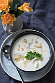 Chowder with sweetcorn and shellfish