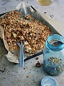 Crunchy pecan nut granola with chia seeds, buckwheat and dates